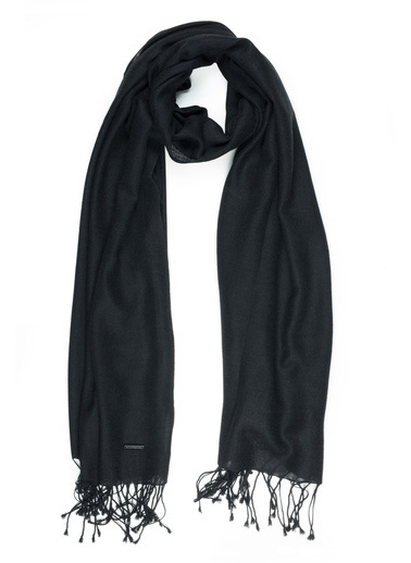 Silk and Cashmere İpek Karişimli Düz Salma Şal Siyah